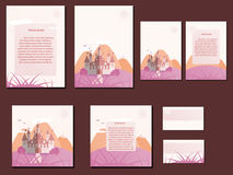 Pastel pink and orange colorful brochures, business cards with castle design. Nice and simple illustration Stock Image