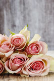 Pastel pink roses on wooden background Stock Image