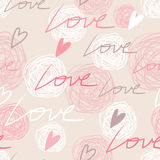 Pastel pink seamless pattern with love words Stock Photography
