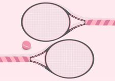 Pastel Pink Tennis Racket and Tennis Ball Background Illustration Stock Images