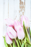 Pastel pink tulips from above on table Royalty Free Stock Photography