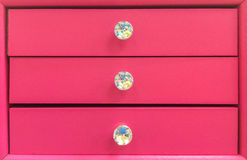 Pastel Pink Wooden Drawer with Diamond Knob to Keep Jewelry. For Valentine Gift Royalty Free Stock Image