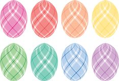 Pastel Plaid Easter Eggs. Eight Easter eggs with pastel plaid designs Stock Images