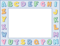 Pastel Polka Dot Alphabet Frame. Multicolored pastel polka dot alphabet on a blue gingham frame with copy space for albums, scrapbooks, announcements, posters Royalty Free Stock Image