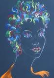 pastel portrait of woman stock photos