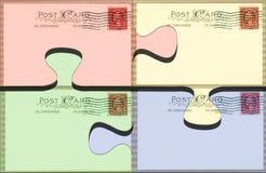 Pastel postcard puzzle. Pastel colored vintage postcards Stock Photo