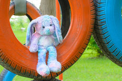 Pastel rabbit doll Stock Photos