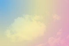 Pastel rainbow cloud background. Soft pastel rainbow colours over cloud background Royalty Free Stock Image