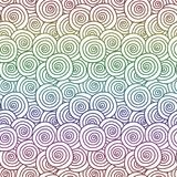 Pastel Rainbow Curls seamless background. Abstract seamless geometric pattern with pastel rainbow colored circular swirls Royalty Free Stock Photography