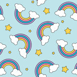 Pastel rainbow and stars seamless pattern on blue background with black outline. Vector royalty free illustration