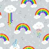 Pastel rainbow and stars seamless pattern on blue background wit. Pastel rainbow seamless pattern on grey background, vector cartoon style illustration vector illustration