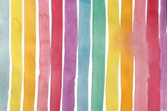 Pastel Rainbows Stripes Hand Painted Watercolor Pattern Royalty Free Stock Photos