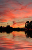 Pastel Reflections. Beautiful pastel sunset stock image