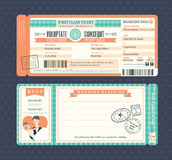 Pastel Retro Boarding Pass Wedding Invitation Template vector illustration