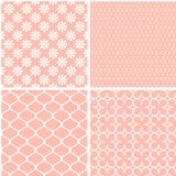 4 Pastel retro different seamless patterns tiling. stock illustration