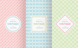 Pastel retro different vector seamless patterns Royalty Free Stock Images