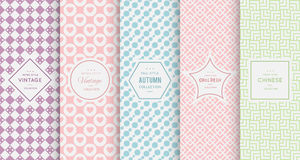 Pastel retro different vector seamless patterns Royalty Free Stock Image