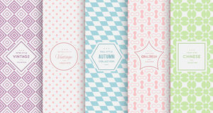 Pastel retro different vector seamless patterns Royalty Free Stock Photos