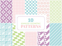 Pastel retro different vector seamless patterns Stock Image