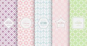 Pastel retro different vector seamless patterns Stock Photography