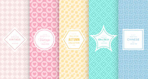 Pastel retro different vector seamless patterns Stock Images