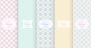 Pastel retro different vector seamless patterns Royalty Free Stock Photo