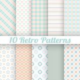 Pastel retro different vector seamless patterns. 10 Pastel retro different vector seamless patterns (tiling). Set of geometric ornaments. Orange, blue and white Royalty Free Stock Photos