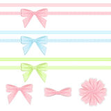 Pastel ribbon and bow collection. Stock Images