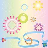 Pastel ribbons, stars and flowers. Stock Image
