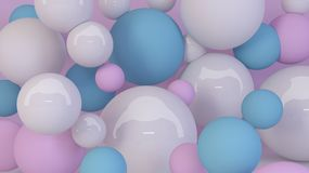 Pastel room decorated with random sizes balls. 3d rendering. Picture royalty free illustration
