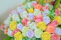 Pastel Rose Artificial Flowers. Bouquet royalty free stock photo