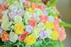 Pastel Rose Artificial Flowers. Bouquet royalty free stock images