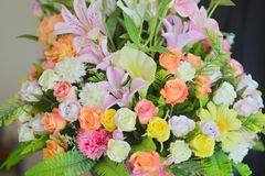 Pastel Rose Artificial Flowers. Bouquet stock photography