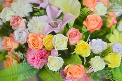 Pastel Rose Artificial Flowers. Bouquet stock image