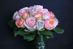Pastel roses in bridal bouquet Royalty Free Stock Images
