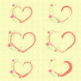 Pastel Roses and Hearts. Set with Pastel Color Climbing Roses and Hearts Placed on the Textured Background.Light Spring Colors. Vector EPS 10 Royalty Free Stock Photography