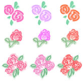Pastel roses icon in diiferent color and style Stock Images