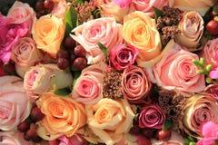 Pastel roses wedding arrangement Royalty Free Stock Images
