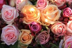 Pastel roses wedding arrangement Stock Photos