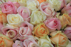 Pastel roses in a wedding arrangement Royalty Free Stock Photo