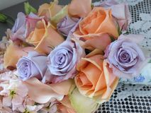 Pastel roses in a wedding bouquet Stock Photography