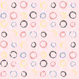Polka dot pattern with grunge color circle on pink. Pastel scandinavian seamless pattern with grunge colorful circles on tender pink background. Vector chalk Royalty Free Stock Image