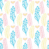 Pastel seamless pattern with color branches. Floral background. Beauty vector texture. Stock Photo