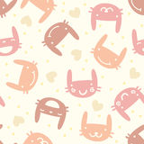 Pastel seamless pattern with cute bunny Stock Photo