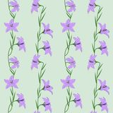 Pastel seamless pattern - delicate flowers lilac Campanula on a light azure background. EPS Vector file. Suitable for filling any form royalty free illustration