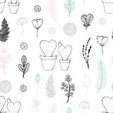 Pastel seamless pattern with hand drawn cactuses and flowers. Cute doodle background royalty free illustration