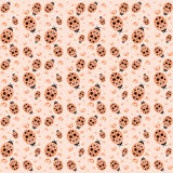 Pastel seamless pattern with ladybugs and drops Royalty Free Stock Photo