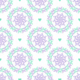 Pastel seamless pattern with nature circles and hearts. Ornate floral background. Can be used for wrapping paper, web page background, surface textures Royalty Free Stock Image
