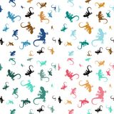 Pastel seamless patterns with lizards vector illustration