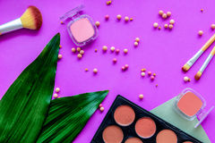 Pastel set of decorative cosmetics with pallet and brushes on purple woman desk background top view Stock Images